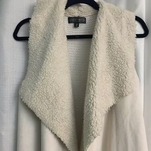 Faux shearling cream vest